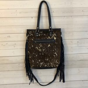 Handbags - Handmade Guatemalan fringe and cowhide bag